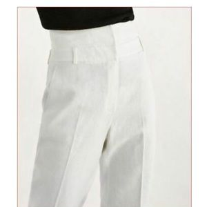 Massimo Dutti White Linen High Rise pants - NEW